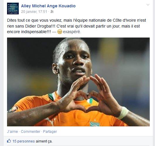 Post sur un mur Facebook(Alley Michel Ange Kouadio)